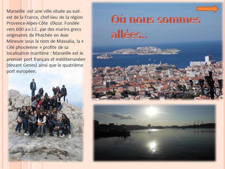 Marseille est une ville située au sud-est de la France, chef-lieu de la région Provence-Alpes-Côte d'Azur. Fondée vers 600 a.v-J.C. par des marins grecs originaires de Phochée en Asie Mineure sous le nom de Massalia, la « Cité phocéenne » profite de sa localisation maritime : Marseille est le premier port français et méditerranéen (devant Genes) ainsi que le quatrième port européen.
