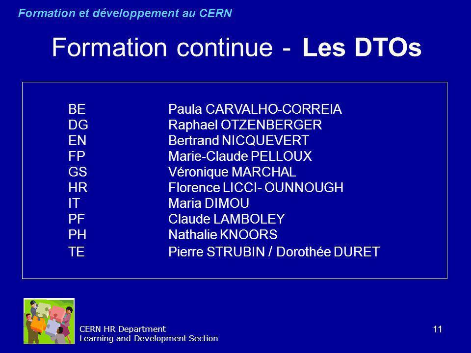 Formation continue - Les DTOs