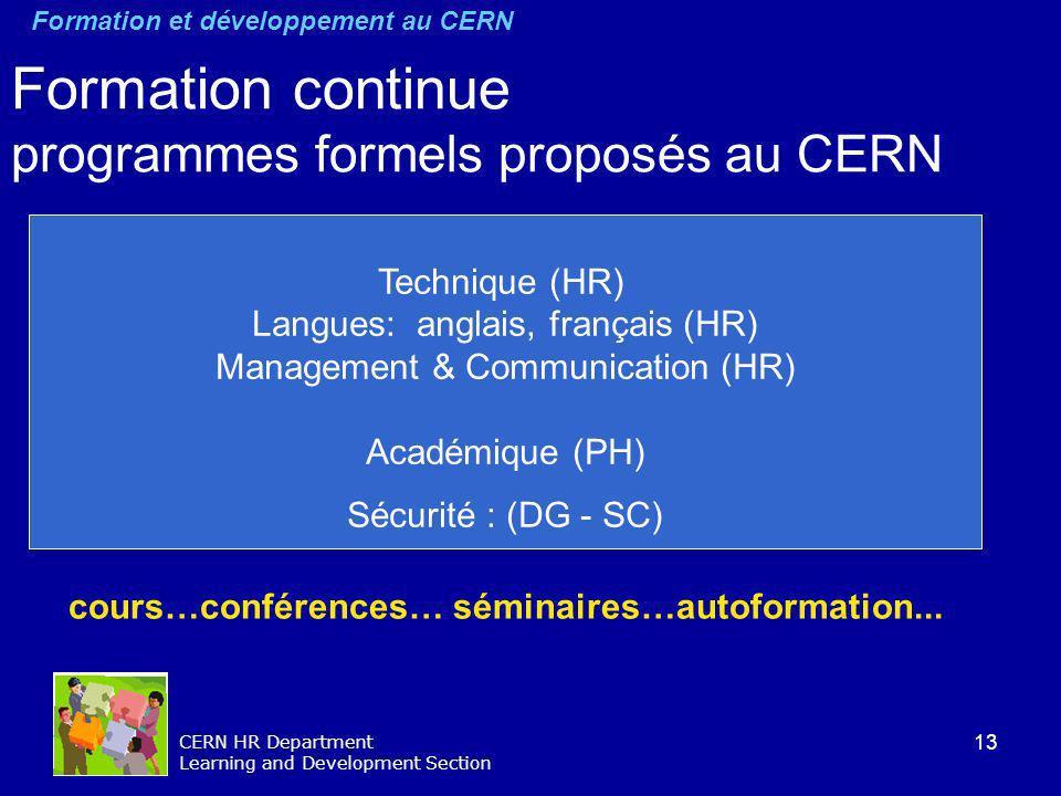Formation continue programmes formels proposés au CERN