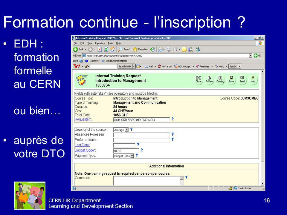 Formation continue - l'inscription