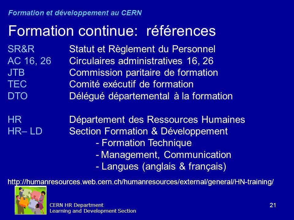 Formation continue: références