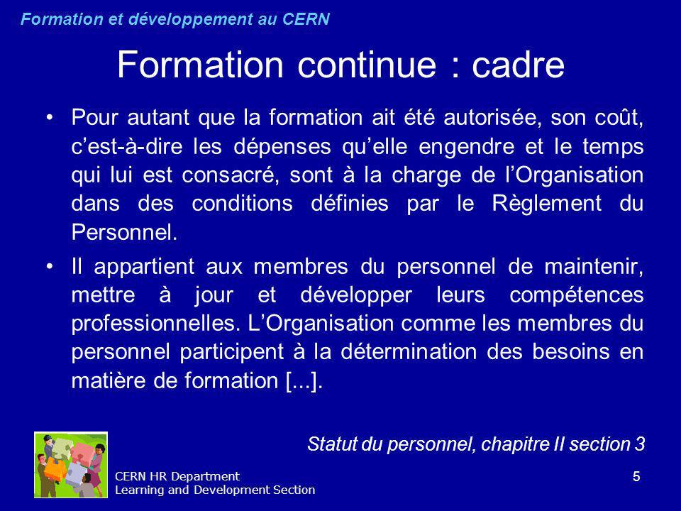Formation continue : cadre