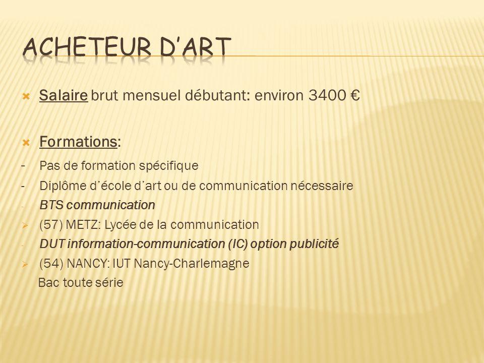Acheteur d'art Salaire brut mensuel débutant: environ 3400 €