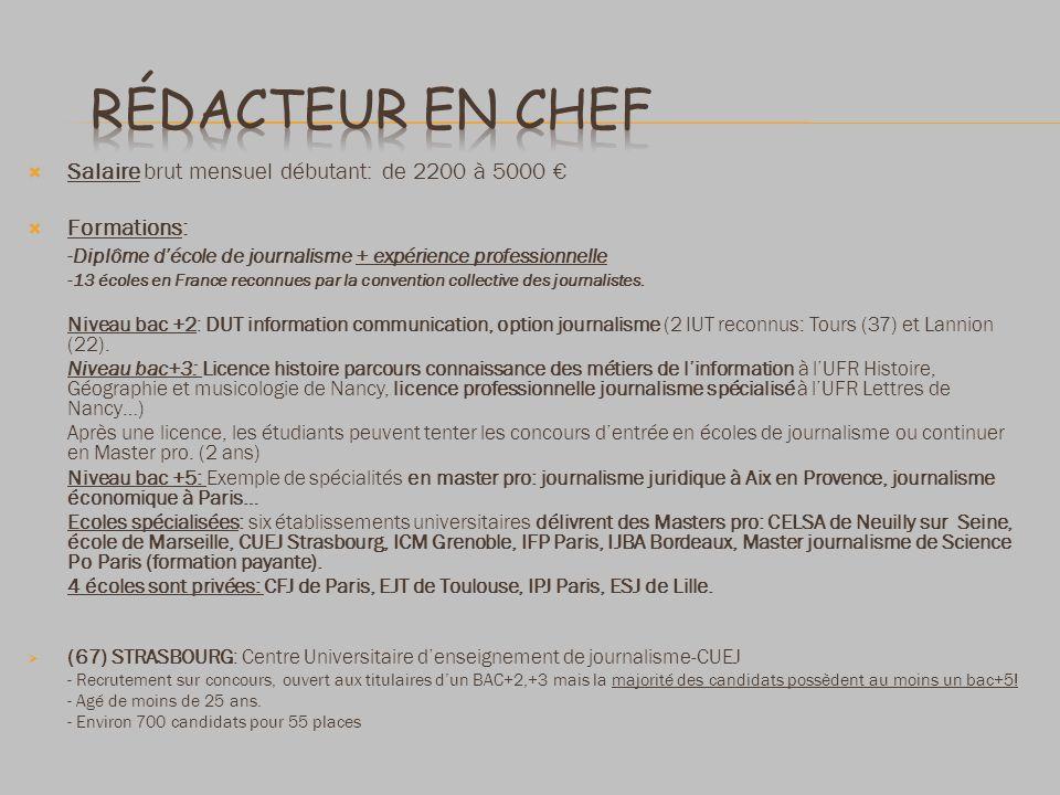 Rédacteur en chef Salaire brut mensuel débutant: de 2200 à 5000 €