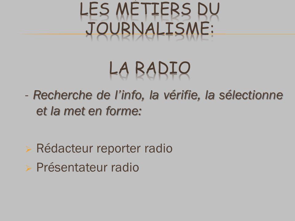 Les métiers du journalisme: La radio