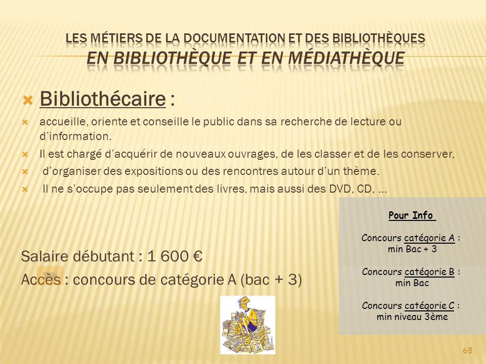 Bibliothécaire : Salaire débutant : 1 600 €