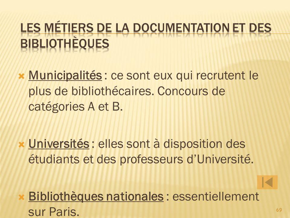 Les métiers de la documentation et des bibliothèques
