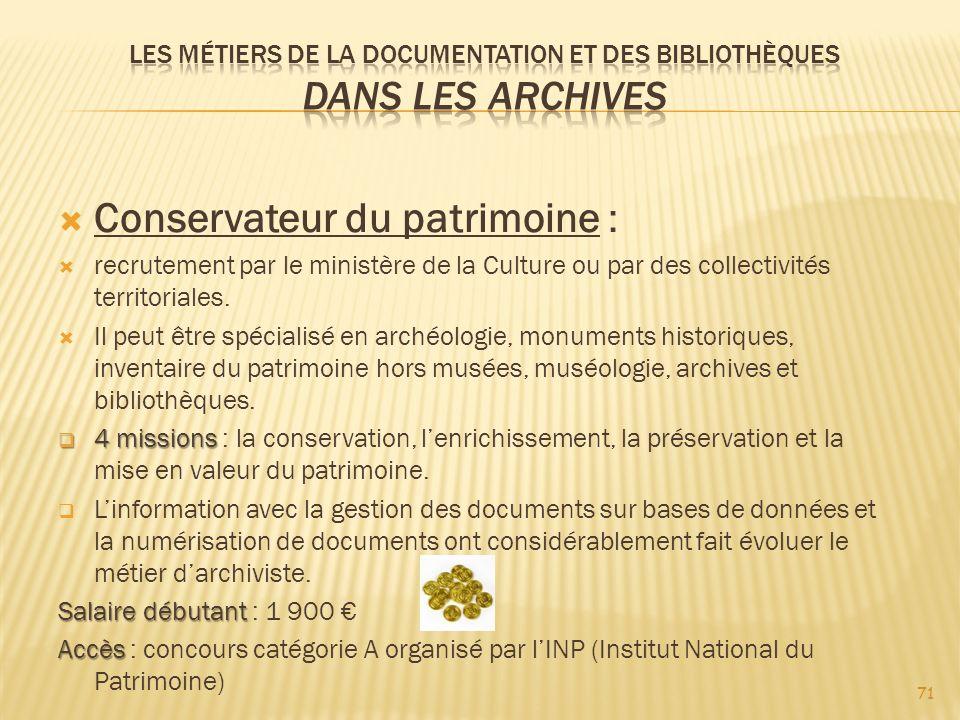Les métiers de la documentation et des bibliothèques Dans les archives