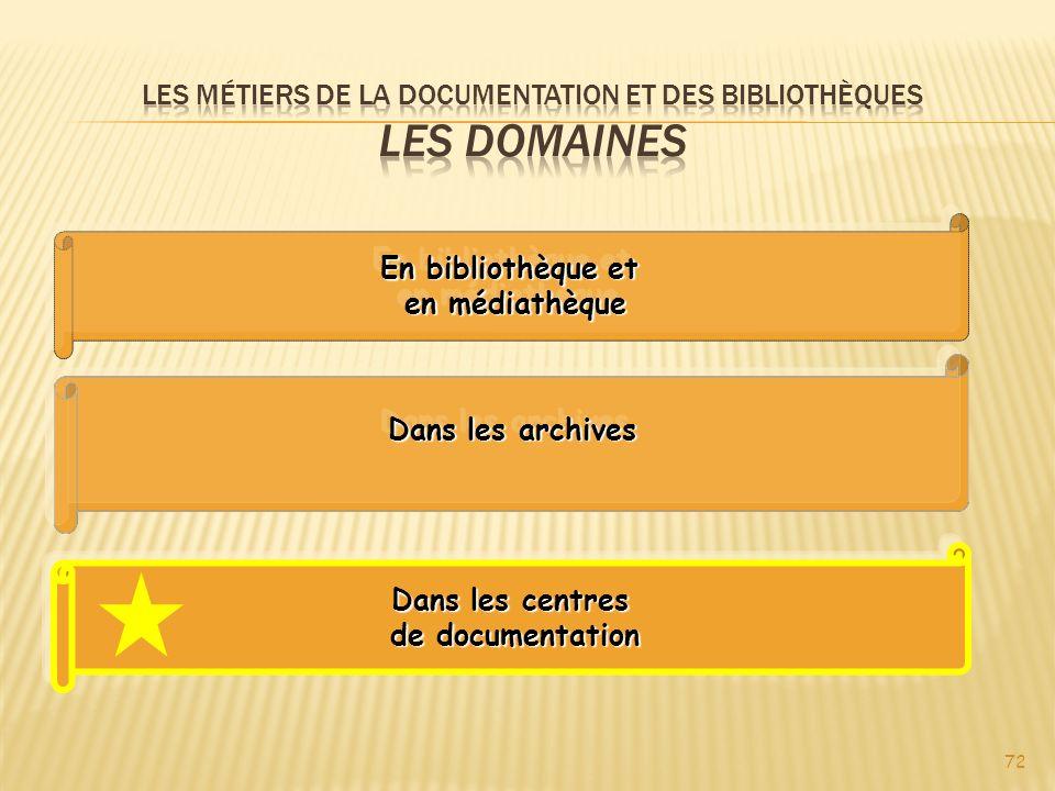 Les métiers de la documentation et des bibliothèques Les domaines