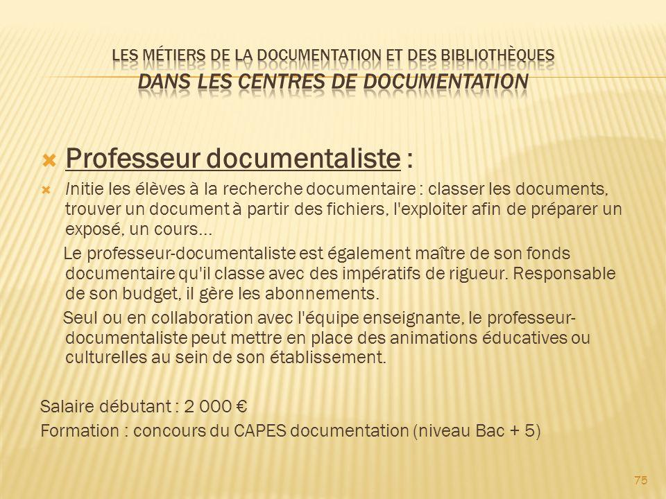 Professeur documentaliste :