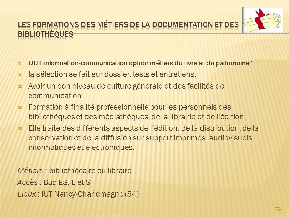 Les formations des métiers de la documentation et des bibliothèques