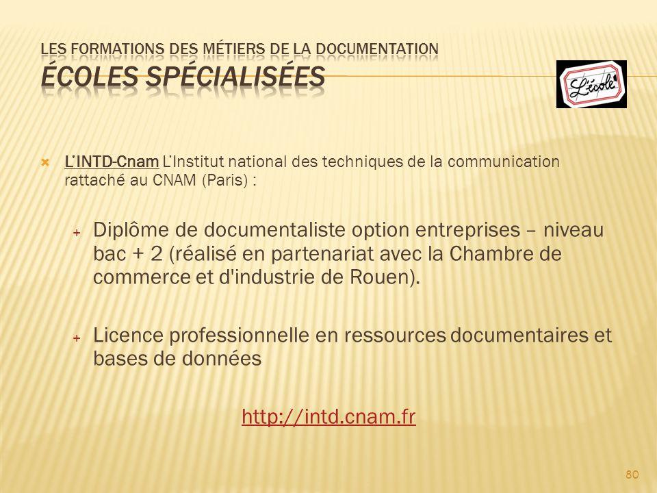 Les formations des métiers de la documentation Écoles spécialisées