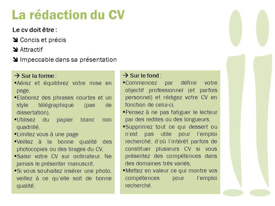 La rédaction du CV Le cv doit être :  Concis et précis  Attractif