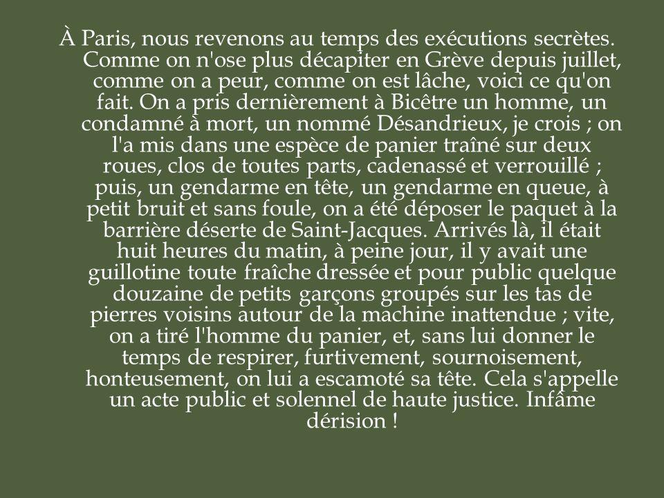 À Paris, nous revenons au temps des exécutions secrètes