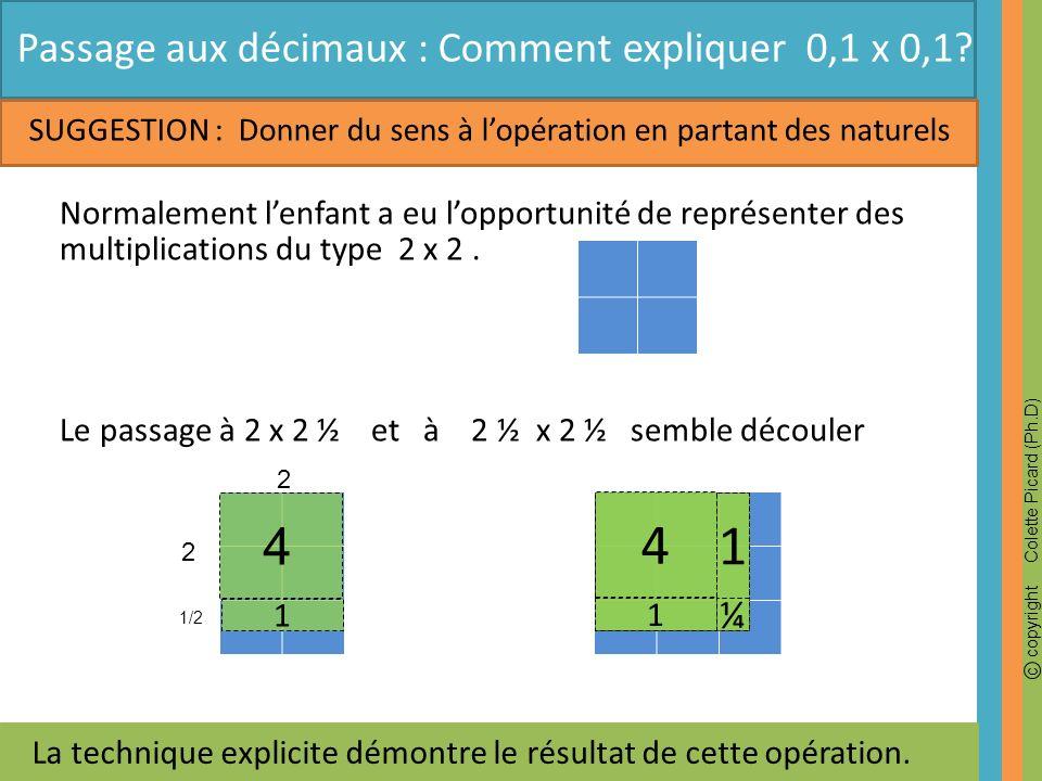4 1 4 Passage aux décimaux : Comment expliquer 0,1 x 0,1 ¼