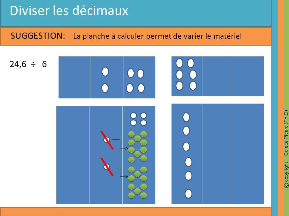 Diviser les décimaux SUGGESTION: 24,6 ÷ 6