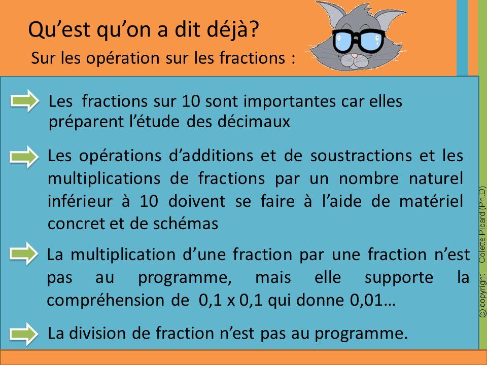 Qu'est qu'on a dit déjà Sur les opération sur les fractions :