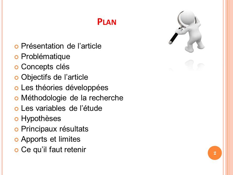 Plan Présentation de l'article Problématique Concepts clés