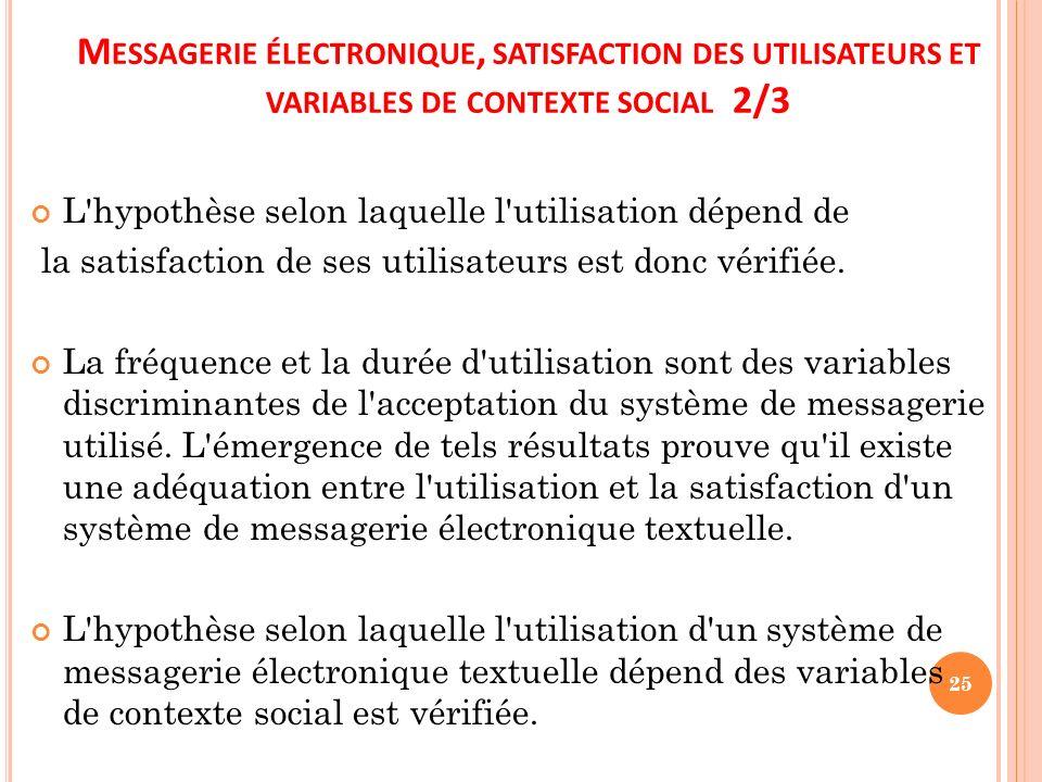 Messagerie électronique, satisfaction des utilisateurs et variables de contexte social 2/3