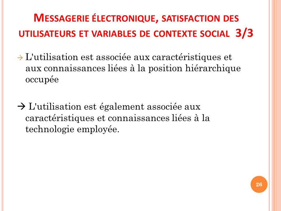 Messagerie électronique, satisfaction des utilisateurs et variables de contexte social 3/3