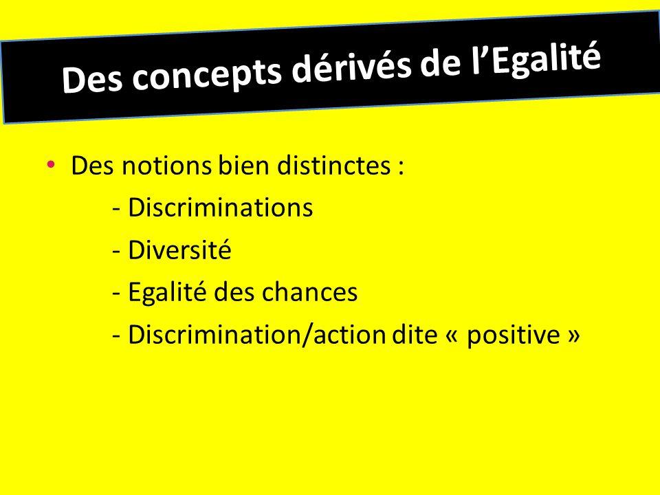 Des concepts dérivés de l'Egalité