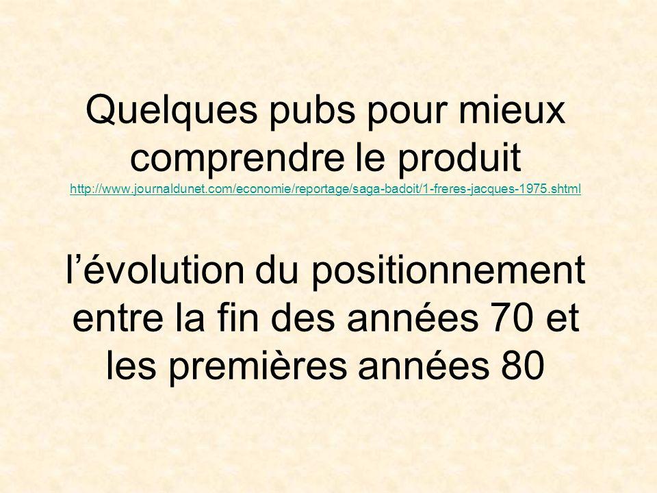 Quelques pubs pour mieux comprendre le produit http://www.journaldunet.com/economie/reportage/saga-badoit/1-freres-jacques-1975.shtml l'évolution du positionnement entre la fin des années 70 et les premières années 80