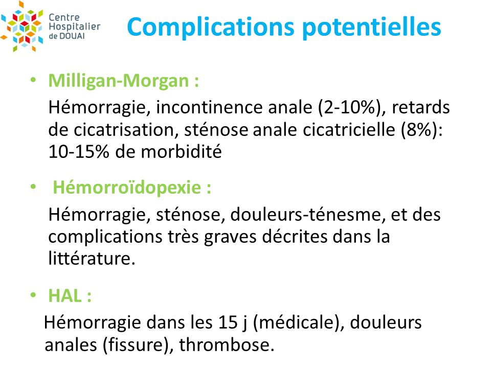 Complications potentielles