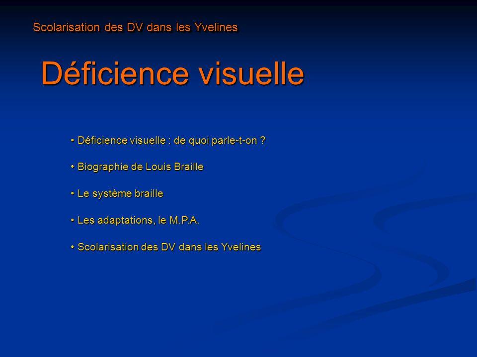 Déficience visuelle Scolarisation des DV dans les Yvelines
