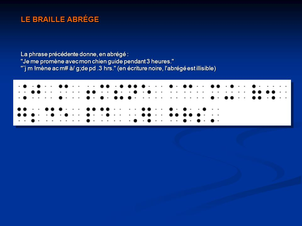 LE BRAILLE ABRÉGE