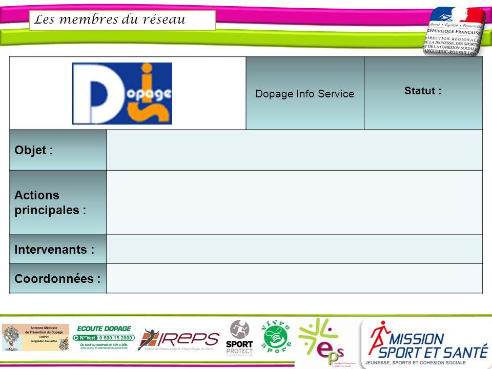 Les membres du réseau Objet : Actions principales : Intervenants :