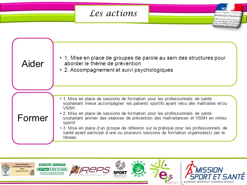 Aider Former Les actions