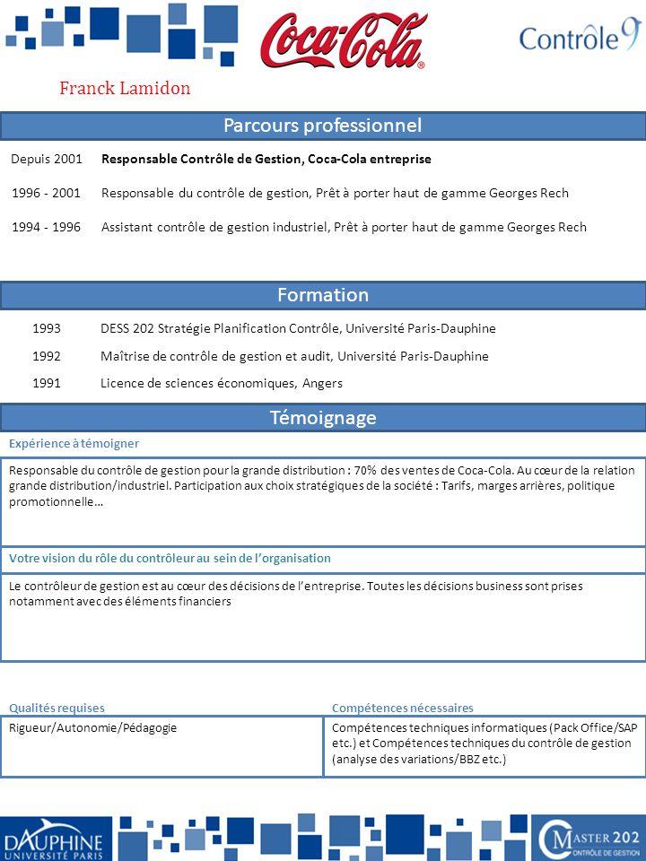 Franck Lamidon Depuis 2001. Responsable Contrôle de Gestion, Coca-Cola entreprise. 1996 - 2001.