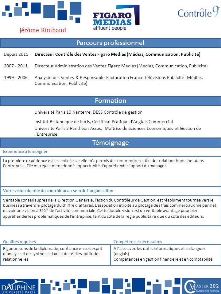 Jérôme Rimbaud Depuis 2011. Directeur Contrôle des Ventes Figaro Medias (Médias, Communication, Publicité)