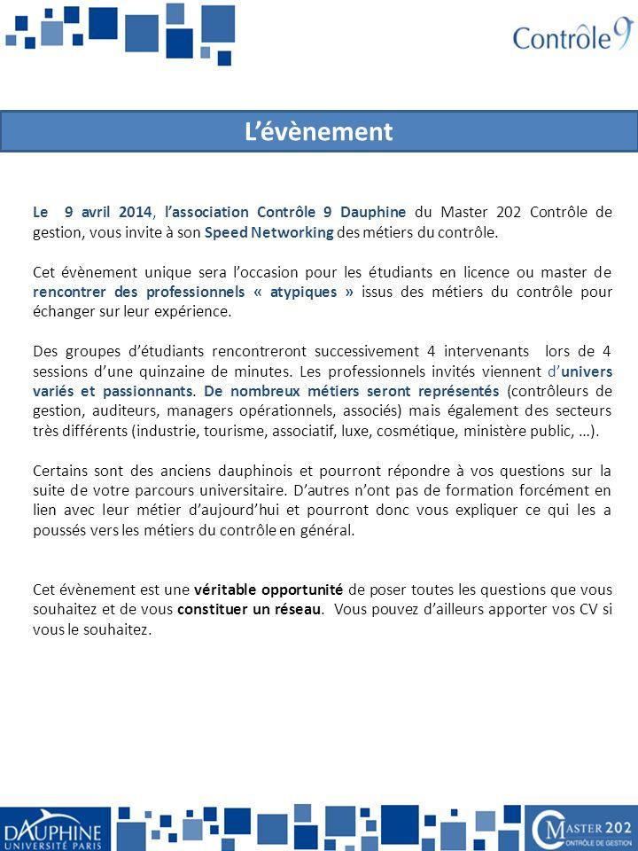 Le 9 avril 2014, l'association Contrôle 9 Dauphine du Master 202 Contrôle de gestion, vous invite à son Speed Networking des métiers du contrôle.