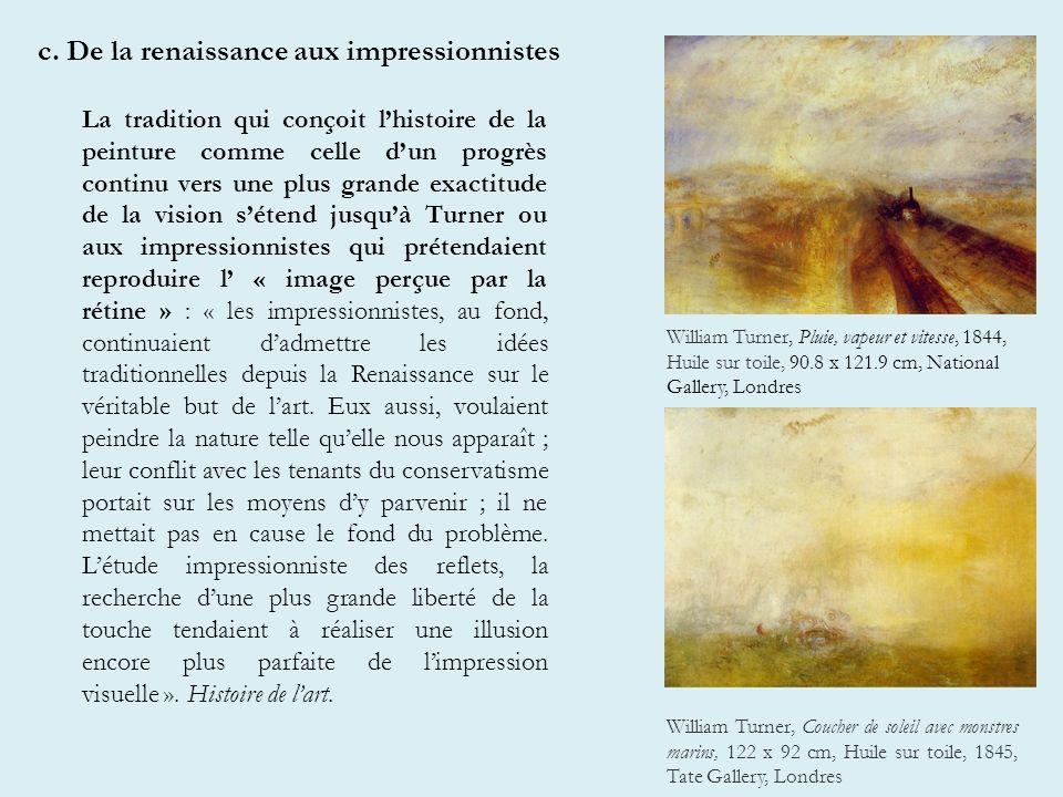 c. De la renaissance aux impressionnistes