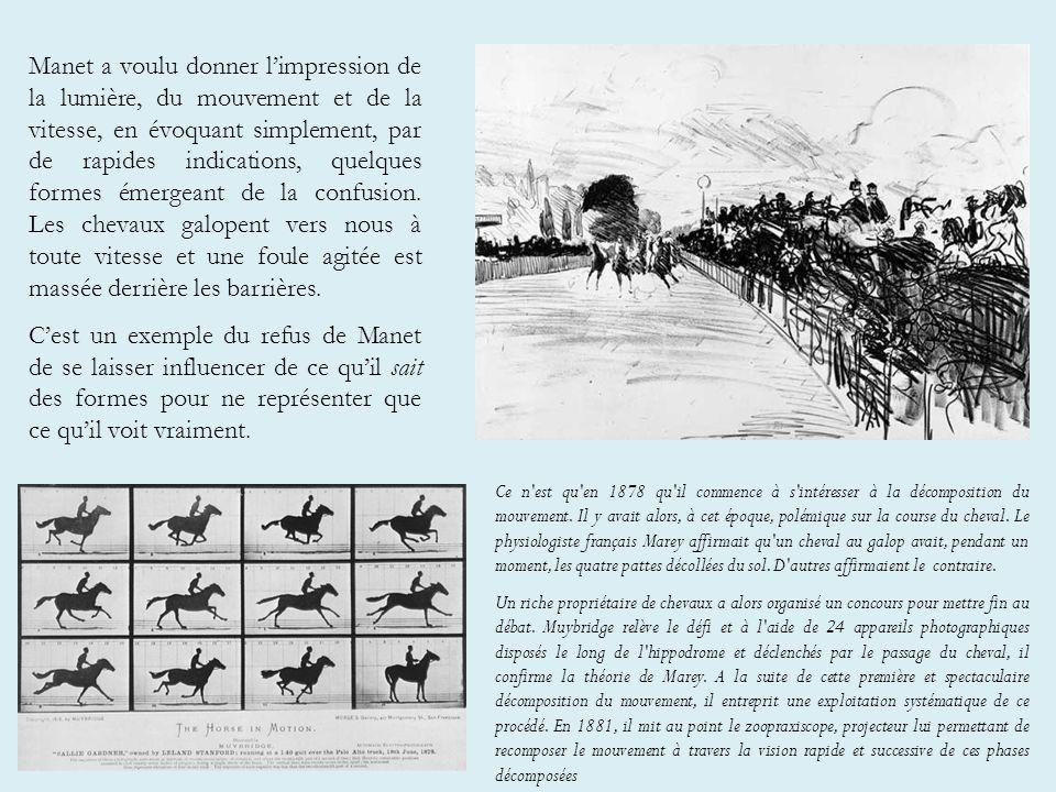 Manet a voulu donner l'impression de la lumière, du mouvement et de la vitesse, en évoquant simplement, par de rapides indications, quelques formes émergeant de la confusion. Les chevaux galopent vers nous à toute vitesse et une foule agitée est massée derrière les barrières.