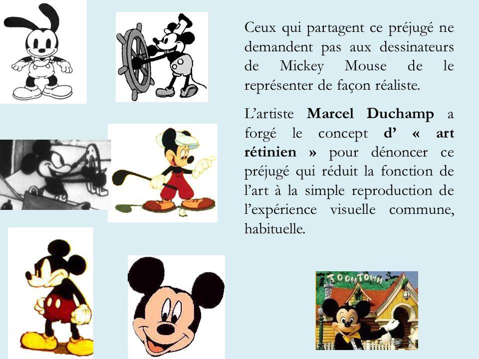 Ceux qui partagent ce préjugé ne demandent pas aux dessinateurs de Mickey Mouse de le représenter de façon réaliste.