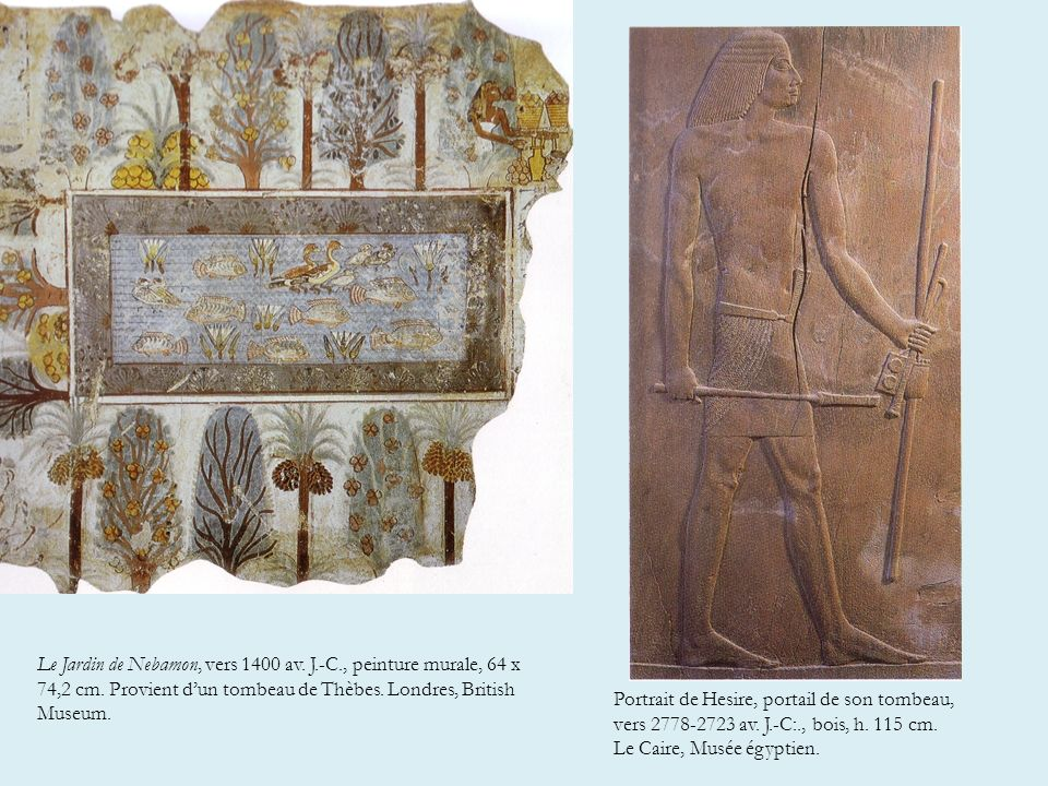 « Les peintres égyptiens avaient une manière très différente de la nôtre de représenter la réalité, conséquence sans doute des buts que se proposait leur peinture. Ce qui comptait le plus, ce n'est pas que ce fût beau, mais que ce fût complet. Le devoir de l'artiste était de conserver chaque chose aussi clairement et aussi durablement que possible. Il ne s'agissait pas de croquer la nature telle qu'elle peut apparaître sous un angle fortuit. Ils dessinaient de mémoire, suivant des règles strictes dont l'application assurait que tout ce qui devait figurer dans la peinture y serait parfaitement discernable. Leur méthode ressemblait plus, à vrai dire, à celle du cartographe qu'à celle du peintre ».