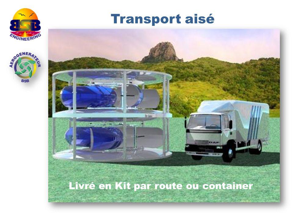 Transport aisé Livré en Kit par route ou container