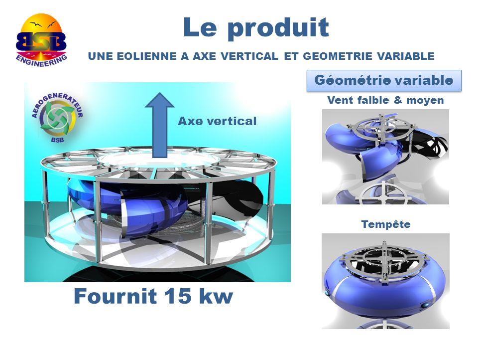 Le produit Fournit 15 kw Géométrie variable Axe vertical