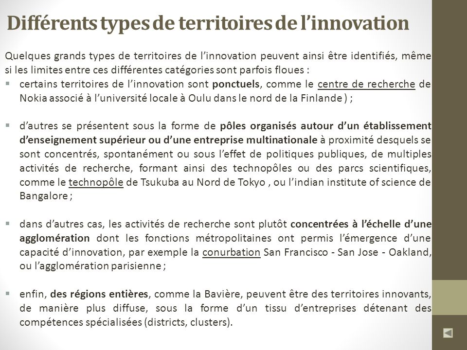 Différents types de territoires de l'innovation