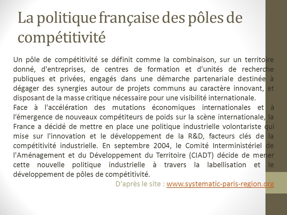 La politique française des pôles de compétitivité