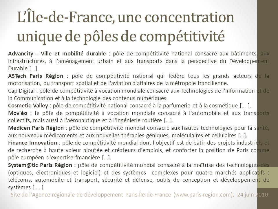 L'Île-de-France, une concentration unique de pôles de compétitivité