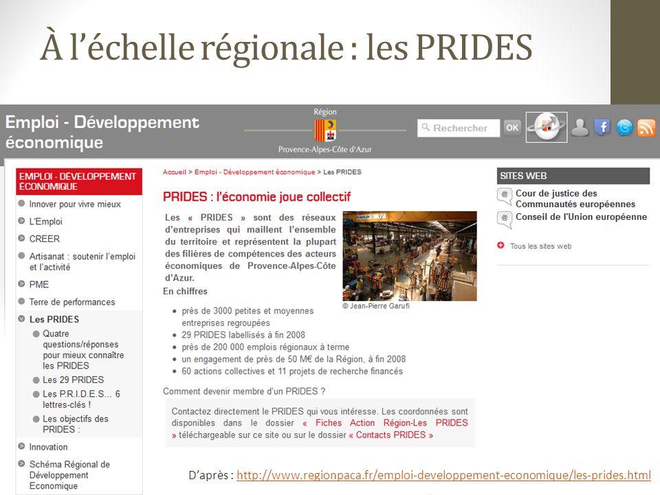 À l'échelle régionale : les PRIDES