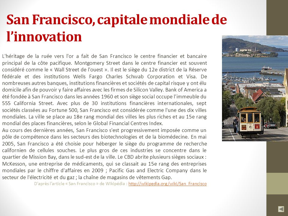 San Francisco, capitale mondiale de l'innovation