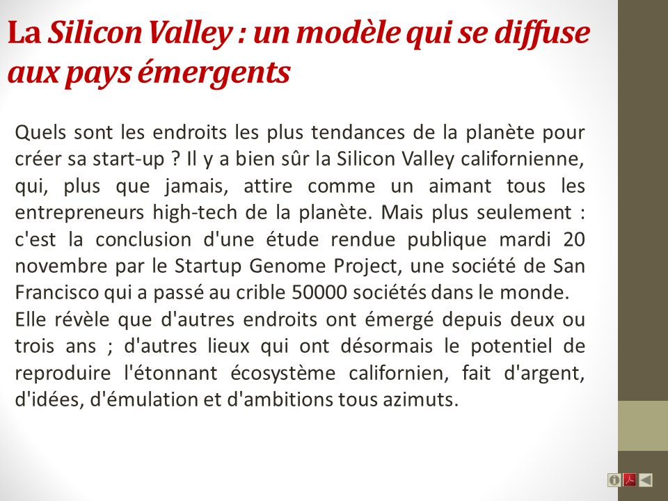 La Silicon Valley : un modèle qui se diffuse aux pays émergents