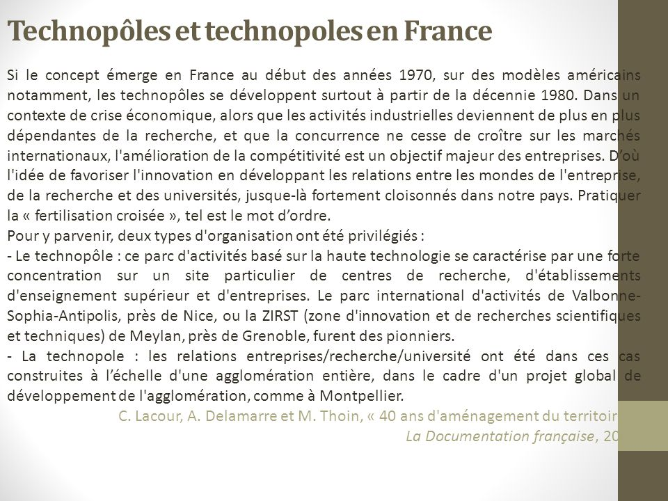 Technopôles et technopoles en France