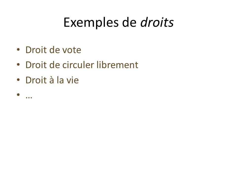 Exemples de droits Droit de vote Droit de circuler librement