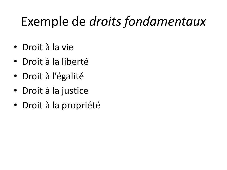 Exemple de droits fondamentaux