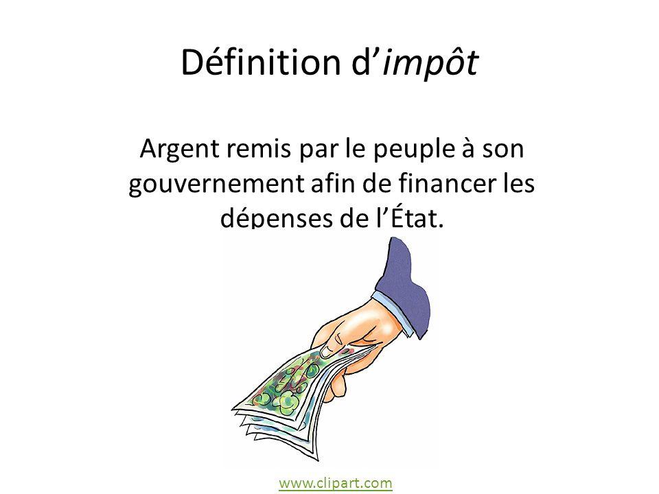 Définition d'impôt Argent remis par le peuple à son gouvernement afin de financer les dépenses de l'État.